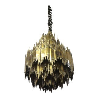 Brutalist Chandelier by Tom Greene for Feldman For Sale