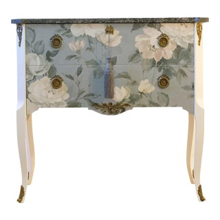 1950s Gustavian Louis XV Style Commode With Floral Pattern For Sale
