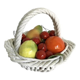 20th Century Italian Porcelain Fruit Basket For Sale