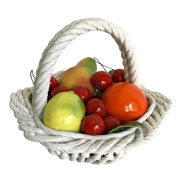 20th Century Italian Porcelain Fruit Basket For Sale