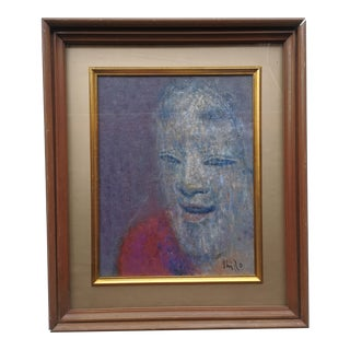 """Mid 20th Century """"Magojiro"""" Portrait Oil Painting by Shiro Wake, Unframed For Sale"""