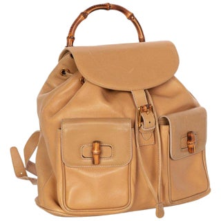 Gucci Vintage Leather and Bamboo Handle Backpack For Sale