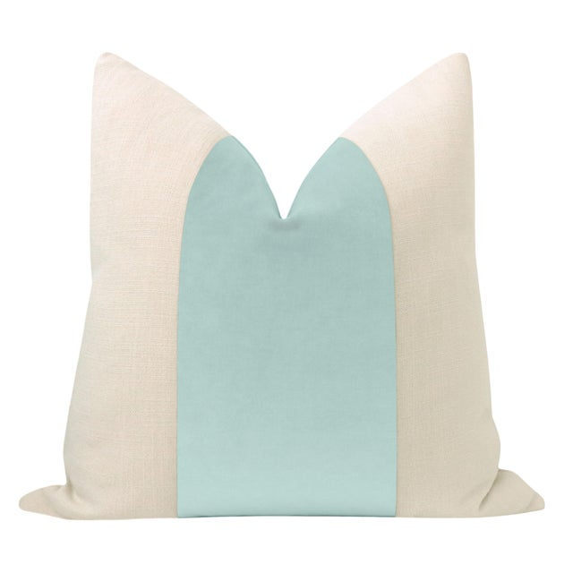 """Pair of beautiful 22"""" natural linen pillows with a sky blue velvet center and solid natural linen reverse. Meticulously..."""