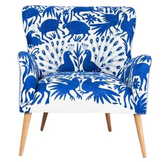 1960s Boho Chic Blue and White Embroidered Lounge Chair