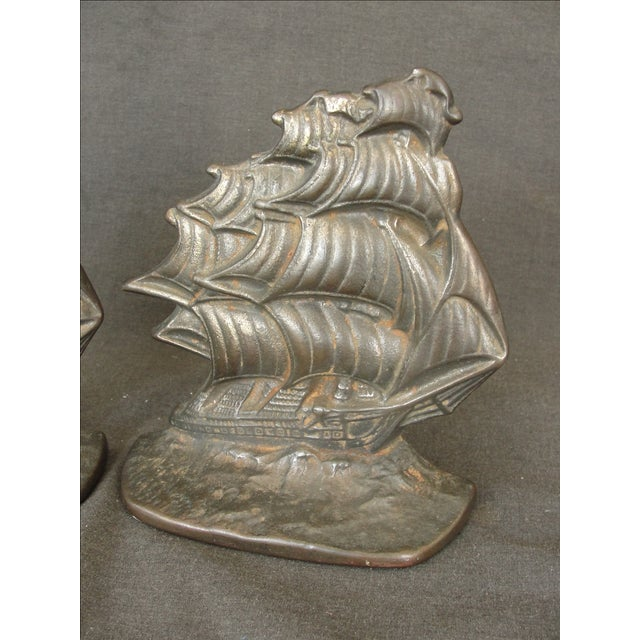 Vintage Cast Iron Ship Bookends - A Pair - Image 4 of 6