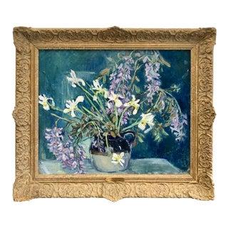 Rachel Hartley Floral Still Life Oil on Canvas Painting, Framed For Sale