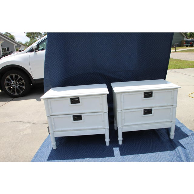 Thomasville Thomasville Hollywood Regency Faux Bamboo Nightstands - a Pair Will Paint in Any Desired Color for an Additional Fee. For Sale - Image 4 of 5