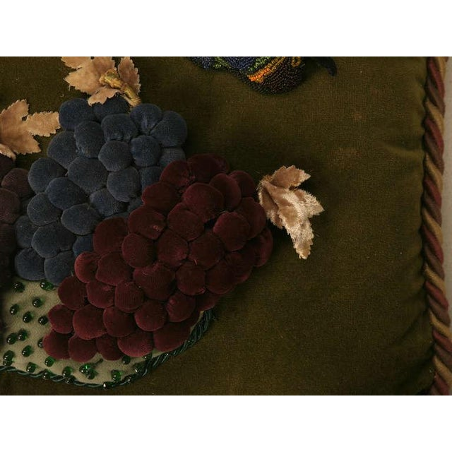 Early 20th Century Vintage English Grapes & Butterfly Motif Velvet Pillow For Sale - Image 5 of 11
