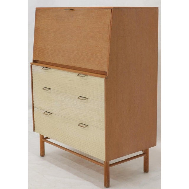 Mid-Century Modern Cerused Oak Drop Front Secretary on Dowel Legs by Mengel For Sale - Image 3 of 11