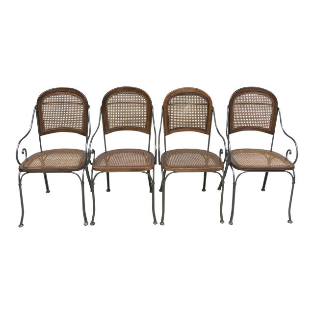 Vintage Iron & Cane Chairs - Set of 4 For Sale
