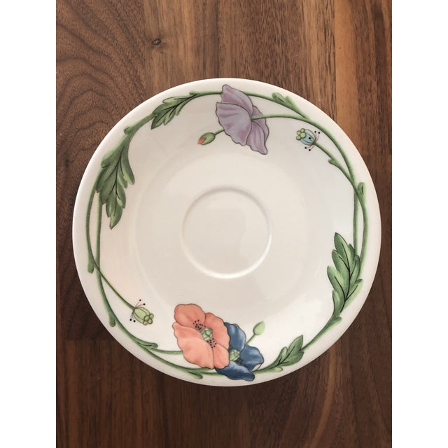 1980s Villeroy & Boch Amapola Cup & Saucers - Set of 8 For Sale In Charlotte - Image 6 of 11