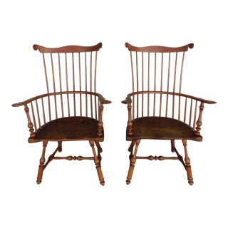 Walter Steely Vintage Philadelphia Style Windsor Fan Back Arm Chairs - a Pair For Sale