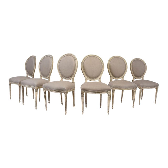 Antique French Louis XVI-Style Dining Chairs - Set of 6 - Image 1 of 10