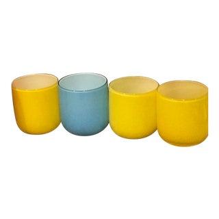 Jonathan Adler Yellow & Blue Pop Glasses - Set of 4