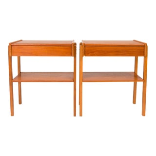 Vintage Danish Mid-Century Teak Nightstands (Pair) For Sale