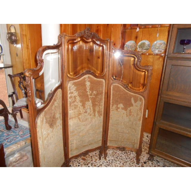 Lovely petite French dressing screen. Unusual small size. Original beveled glass is all in perfect condition. Original...