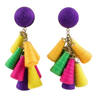 Oversized Italian Thread Dangling Clip on Earrings With Multicolor Charm For Sale