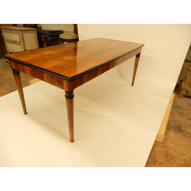 Wood 1940's French Veneered Walnut Dining Table For Sale - Image 7 of 8