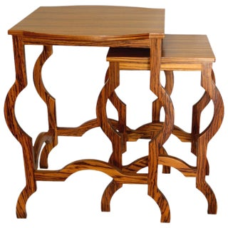 Modern Zebra Wood Nesting Tables - A Pair