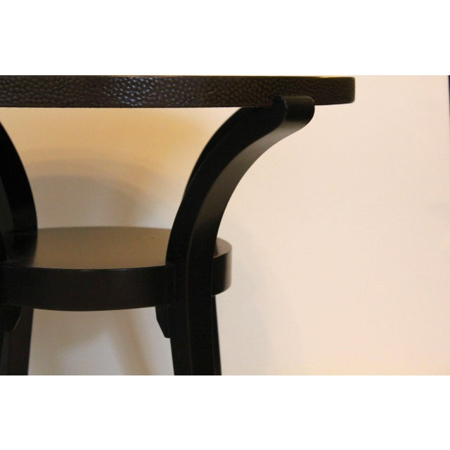 Karl Springer LTD Contemporary Round End Tables With Emu Leather Tops - a Pair For Sale - Image 4 of 6