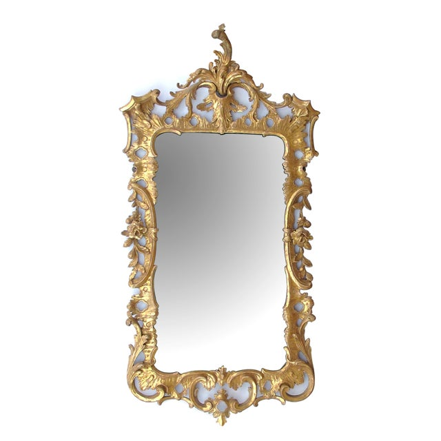 An Elegant and Superbly-Carved English George II Gilt-Wood Mirror With Elaborate Foliate Crest For Sale - Image 9 of 9