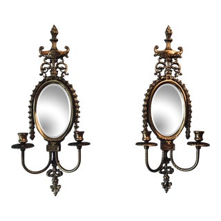 Hollywood Regency Mirrored Brass Sconces - a Pair For Sale
