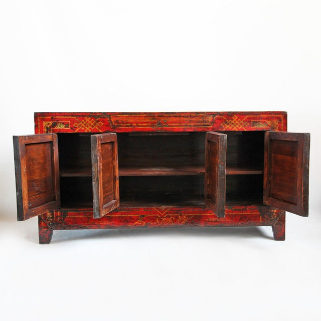 Mongolian Painted Red Sideboard - Image 4 of 4