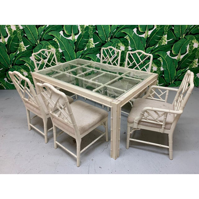 Faux Bamboo Chinese Chippendale 7-Piece Dining Set For Sale - Image 10 of 10