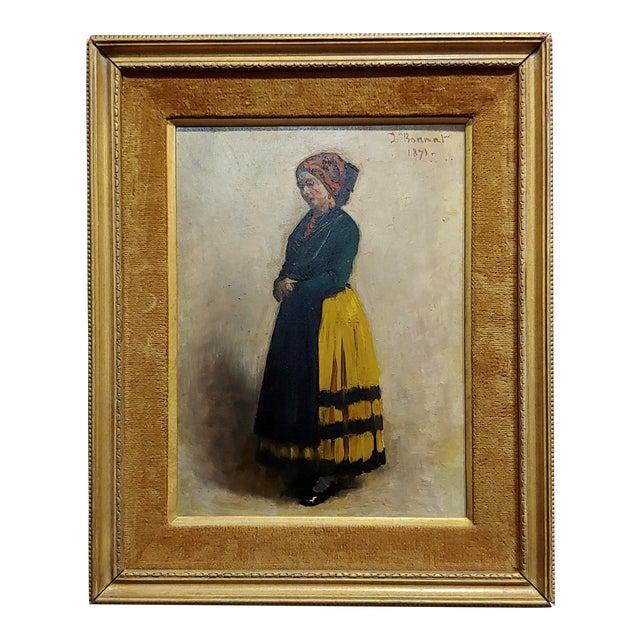 Leon Bonnet 19th Century Portrait of an Italian Woman Oil Painting C. 1871 For Sale