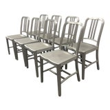 Image of 1990s Vintage Emeco Brushed Aluminum 1006 Navy Chairs - Set of 8 For Sale