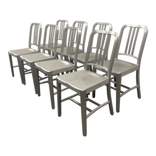 1990s Vintage Emeco Brushed Aluminum 1006 Navy Chairs - Set of 8 For Sale