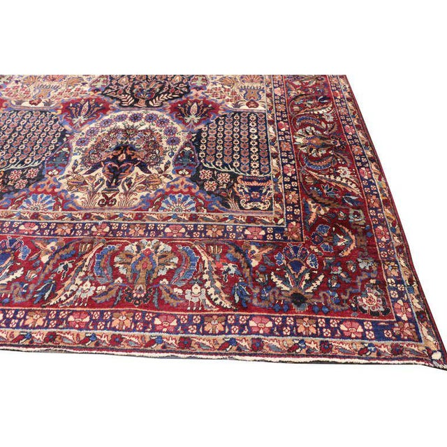 Blue Oversize Antique Persian Yazd with Garden Design in Jewel-Tone Colors For Sale - Image 8 of 10