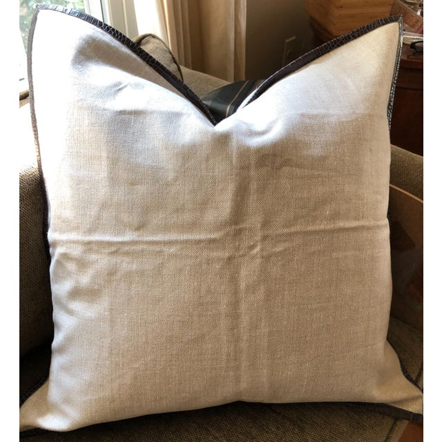 Ankasa Linen 'Crosby' Pillow Cover With Leather Trim For Sale - Image 9 of 9