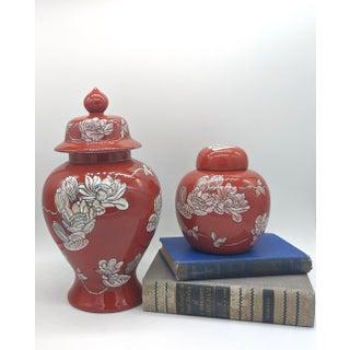 Vintage Red Floral Ginger Jars - Set of 2 Preview
