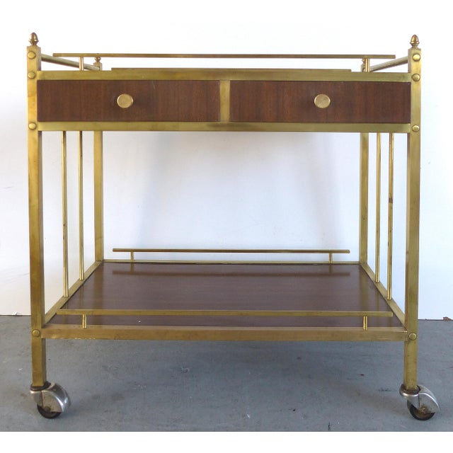 Bi-Level Brass Rolling Bar Trolley W/ Wood Accents For Sale - Image 10 of 10