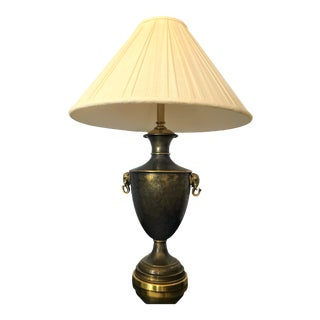 Vintage Brass Urn Style Lamp With Embossed Foo Dog Details and Elephant Head Details For Sale