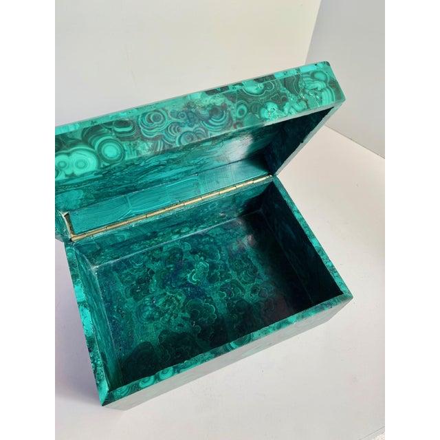 Malachite Box With Semi Precious Stones Set in Sterling For Sale - Image 11 of 12