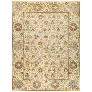 "Neutral Suzani Hand-Knotted Wool Rug - 9' 3"" X 12' 3"""