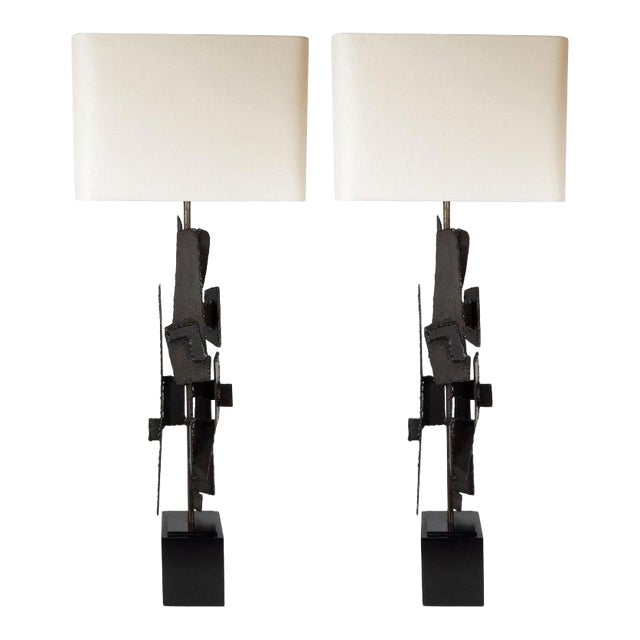 Mid-Century Brutalist Iron Mosaic Table Lamps by Harry Balmer for Laurel Company - a Pair For Sale