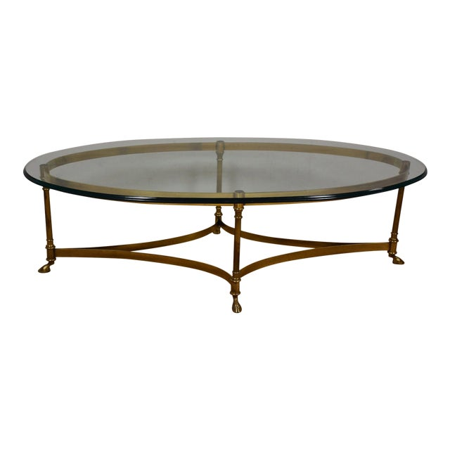 Hollywood Regency Brass & Glass Coffee Table - Image 1 of 8