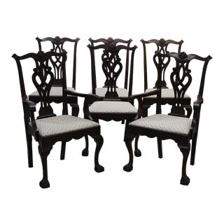 1940s Chippendale Mahogany Dining Chairs - Set of 6 For Sale