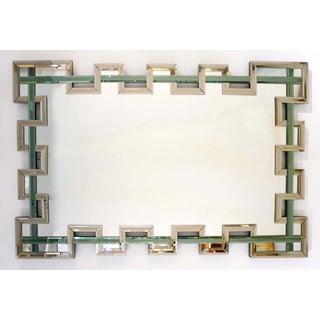 Contemporary Italian Geometric Murano Glass Mirror With Aqua Green Ribbon Preview