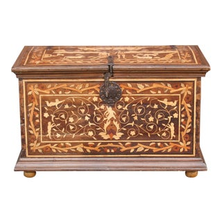 Rare Spanish Peruvian Marquetry Chest For Sale