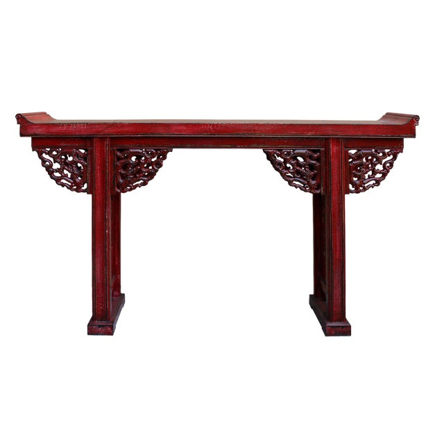 Chinese Distressed Red Lacquer Dragon Motif Apron Altar Console Table For Sale