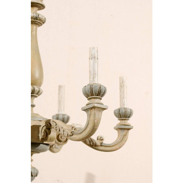 French Carved and Painted Wood Six-Light Vintage Chandelier, Neutral Color For Sale In Atlanta - Image 6 of 7