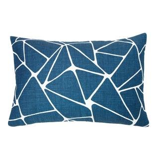 """Navy Blue Geo Linen Lumbar Pillow - 16 X 24"""" For Sale"""
