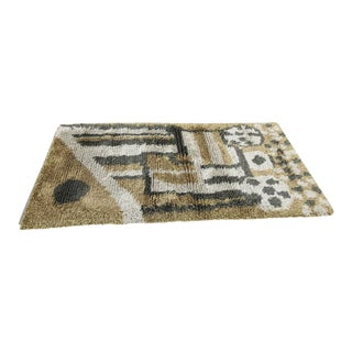 Green Toned Swedish Rya Rug - 3′2″ × 5′8″ For Sale