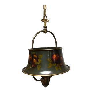 Antique Artist Signed Tole Hanging Lamp For Sale