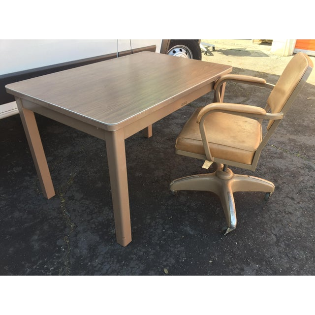 Brown 1960s Industrial McDowell and Craig Metal Writing Desk For Sale - Image 8 of 10