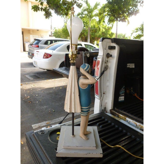 1990s 1990s Vintage Figure in Swimming Suit Lamp For Sale - Image 5 of 7